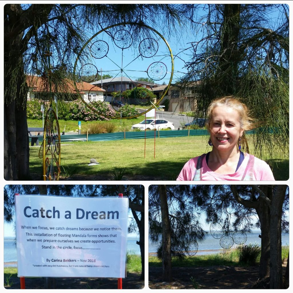 "Carina with ""Catch a Dream"" - art installation at StoryTelling project - 2018"