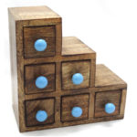 Asha - wooden cabinet with drawers and blue handles